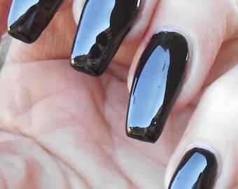 Black- Black cream nail polish