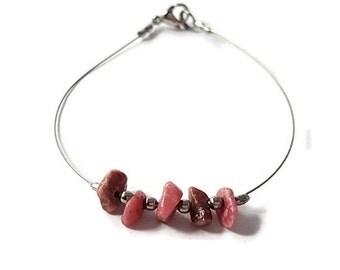 Vegan jewelry, rhodonite bracelet, pink gemstone jewelry, silver bracelet vegan, nature jewelry rhodonite, genuine gemstone bracelet, shiny