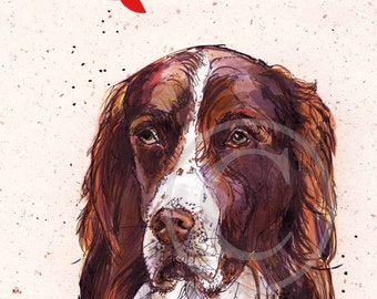 Portrait of Dog, DawgArt, Custom Pet Portrait, Spaniel Art, Art Prints, Colorful pet portrait, pet portrait artist, dog painting, Home Art