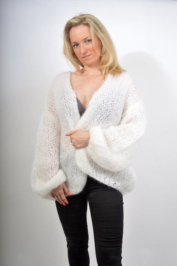 "Mohair Vest ""Bernadette"" vest,  order custom made mohair cardigan, hand knit and made with love by me"