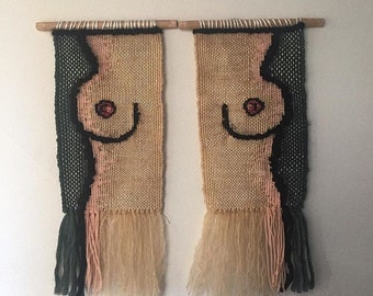 Handwoven wall hanging - 'Hooray for boobies'