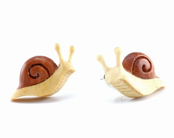 "Hand Carved - ""Tree Snail"" - Gentawas Wood with Sabo Wood Inlay Stud Earring - Rainforest"