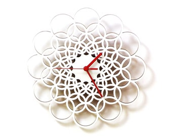 Rings white L - unique contemporary wooden wall clock made of natural materials
