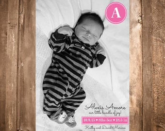 Modern Birth Announcement Baby Girl