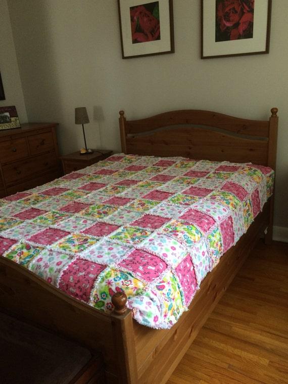Rag Quilt Patterns For Twin Bed : Twin Rag Quilt Pink Rag Quilt Farmhouse Quilt Primitive