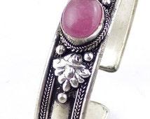 Pink AGATE BRACELET jewelry Tibetan Buddhist chakra jewel stone chakra reiki lithotherapy balancing ref 28