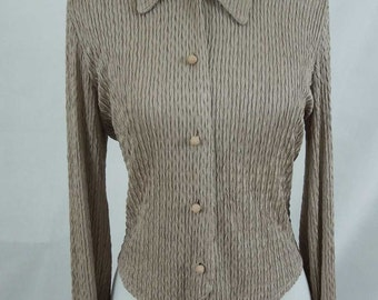 Vintage A K Collectible Petite Long Sleeve Textured Blouse. Taupe.  Med.