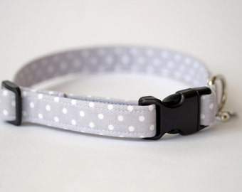 Small Dog or Puppy Collar, Pale Grey and White Spots , Handmade, soft and comfortable, Made to Measure