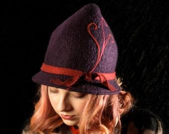 Purple Witch Hat With Fuschia Swirls - Size 22 1/2 - Immediate Ship - Purple Hat - Hand Felted Hat  - Tyrolean Hat - Acorn Hat - Pixie Hat