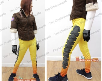 Tracer Fanart Cosplay Costume yellow with gloves
