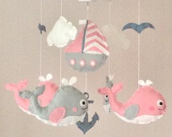 Baby mobile - Crib mobile - Cot mobile - nautical baby mobile - whales mobile - Cloud mobile - pink and grey
