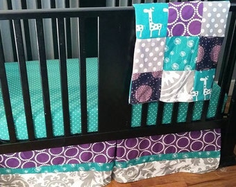 Custom Crib Bedding Set, Made to Order,  gray, purple, turquoise, modern, crib skirt, sheet, baby blanket