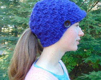 Ponytail Hat with Visor - Violet - Purple - Ponytail Beanie - Chunky Knit - Handmade in Alaska - Teen Womens Hat - Gift for Her