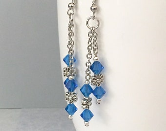 Blue Swarovski Crystal earrings, flower earrings, blue earrings, blue dangle earrings, Swarovski Crystal earrings, blue drop earrings