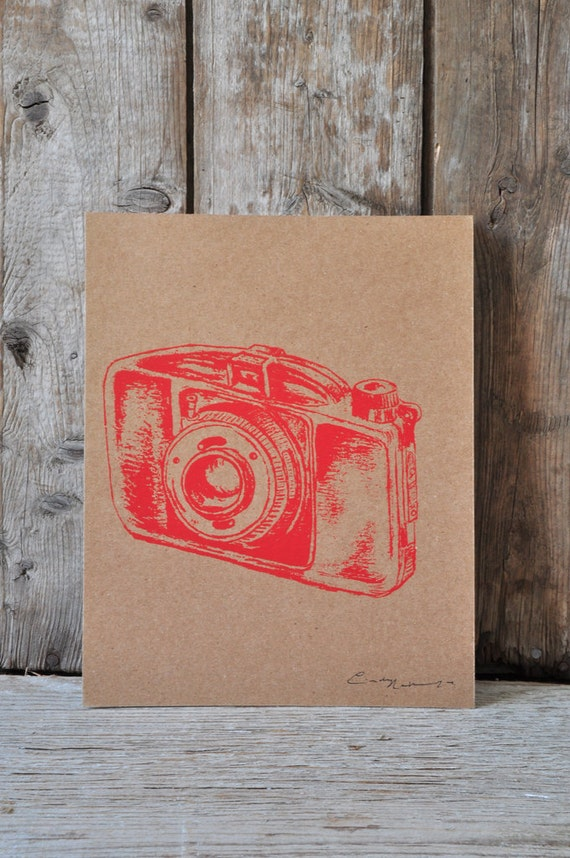 Camera #29, hand pulled silkscreen print, Boyer camera, 8 x 10 inches, open edition.
