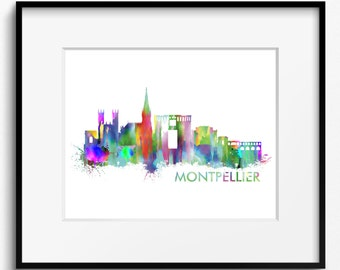 Montpellier Skyline Watercolor Art Print (361) Cityscape France