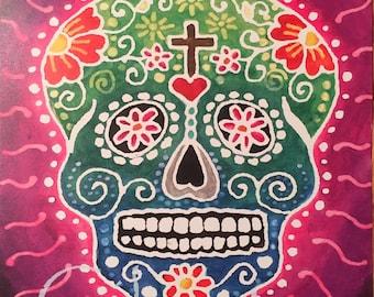 8 x 10 Watercolor Print: Sugar Skull