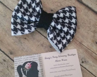 Hair Bow Felt Houndstooth, black and white