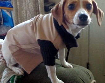 NEW - Homemade Beige/Brown Leather & 100% Cashmere DOG JACKET - Size Small