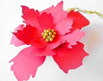 2 Red Paper Flowers, Paper Poinsettia, Big Flower, Christmas Paper Flower, Christmas Decoration, Red Holiday Decor, Table Centerpiece