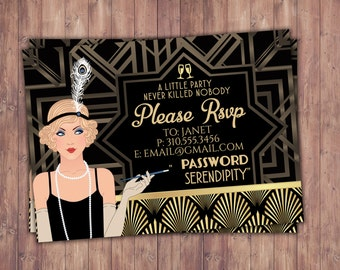Great Gatsby birthday invitation, RSVP card, Roaring 20's, Hollywood film theme party invite. Black and gold, glam, old Hollywood