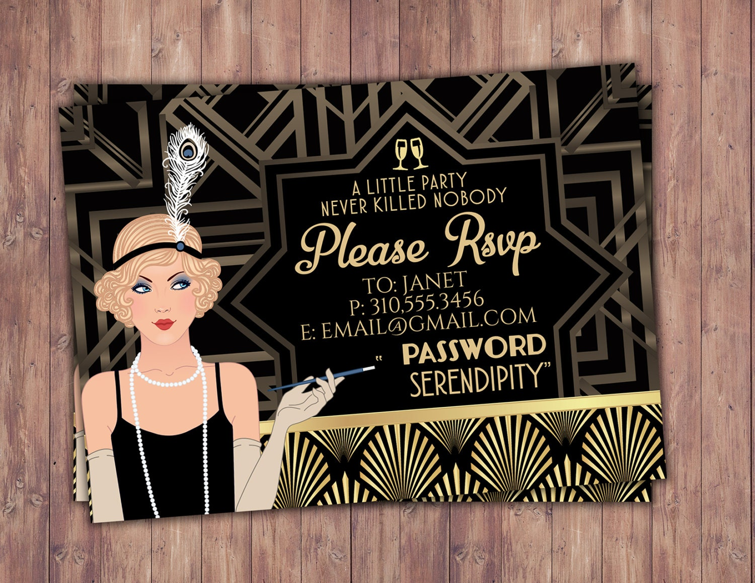 Great Gatsby birthday invitation, RSVP card, Roaring 20\'s ...