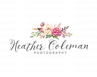 Floral logo watercolor logo photography logo premade logo design flower logo photographer logo