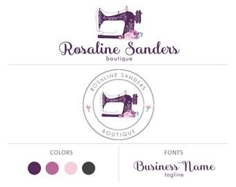 Sewing logo premade logo package boutique logo floral logo branding package watermark sewing machine logo business logo