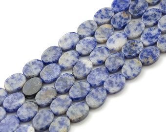Sodalite- Flat Oval Beads-10x14mm- 28 Pieces- Special Shape- Full Strand- 16 Inches