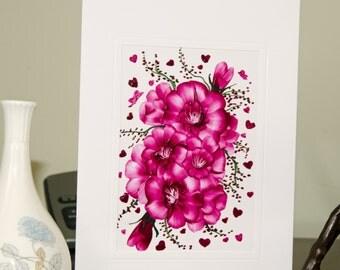 Encaustic Wax Original Art Card, Floral card 2, Valentine