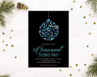 ORNAMENT EXCHANGE PARTY Invitation, Blue and Silver Glitters Holiday Party Invite, Company Christmas Party, Xmas Cocktail Cookies Printables