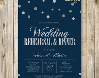 Silver Glitters WEDDING REHEARSAL DINNER Invitation, Navy Blue Rehearsal Dinner Invite, diy Couple Shower Printables, Practice Makes Perfect