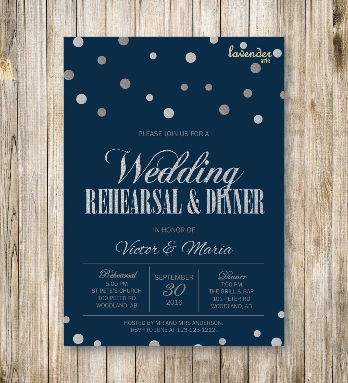Silver Glitters WEDDING REHEARSAL DINNER Invitation Navy Blue
