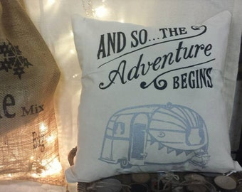 Vintage Airstream Adventure Pillow