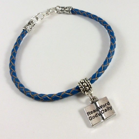 JW Blue Braided Leather Bracelet with Charm.  Blue Velvet Gift Bag Included! #121
