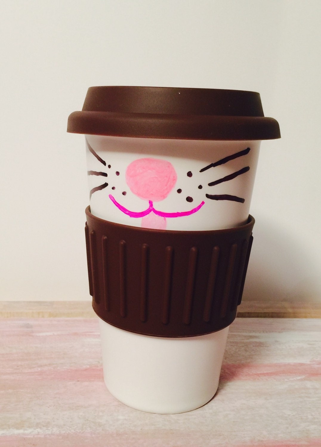 Ceramic Travel Coffee Mug Handpainted Cat Face Gifts For Her