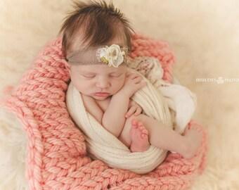 Cream & Brown Flower Tieback Newborn Photography Prop