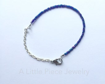 Blue Seed Bead and Silver Chain Dainty Bracelet