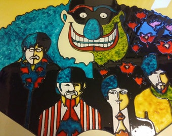 Beatles stained glass  Yellow Submarine window hanging (Sold out but can make to order)