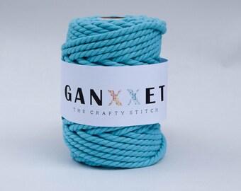 Ganxxet Cotton Rope - Turquoise; macrame cord, macrame rope, cotton cord