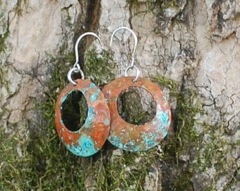 Copper patina with offset hole earrings, metal jewelry, handmade