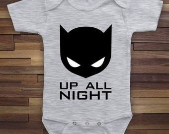 Up All Night - Funny Baby Onesie, Baby Cake Smash Outfit, Superhero Bat Cowl Mask, Baby Shower Gift, Baby Batman, Super Baby Bodysuit CT-784