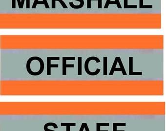 "Orange Armbands Reflective VISITOR STAFF CREW Security Hi Vis Arm Band Viz 5 X 20"""