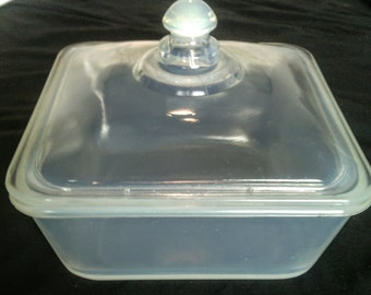 H.C. Fry Opalescent Oven Glass Square Baker with Lid