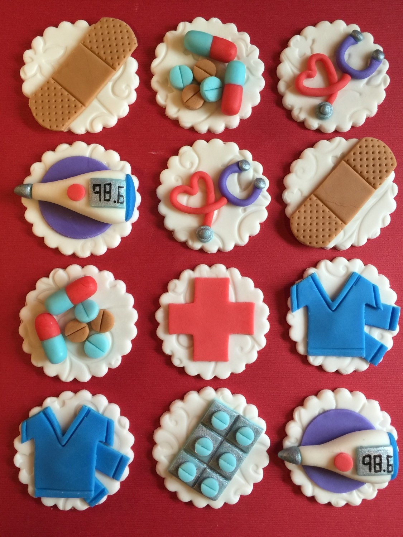 12 Nurse Cupcake Toppers Healthcare Fondant Medical