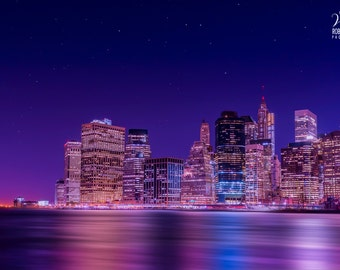 New York, picture of Downtown Manhattan in the evening, view from Brooklyn, Financial District, NYC