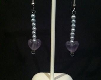 Purple Heart and Light Blue Pearl Earrings