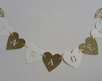 Gold glitter & ivory engagement banner. Engagement ring bunting, banner. Gold glitter engaged party decor