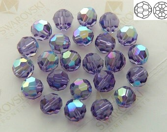 17 pieces Vintage Swarovski #5000 10mm Crystal Tanzanite AB Round Ball Faceted Beads