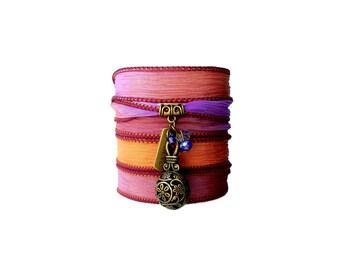 Believe silk ribbon bracelet